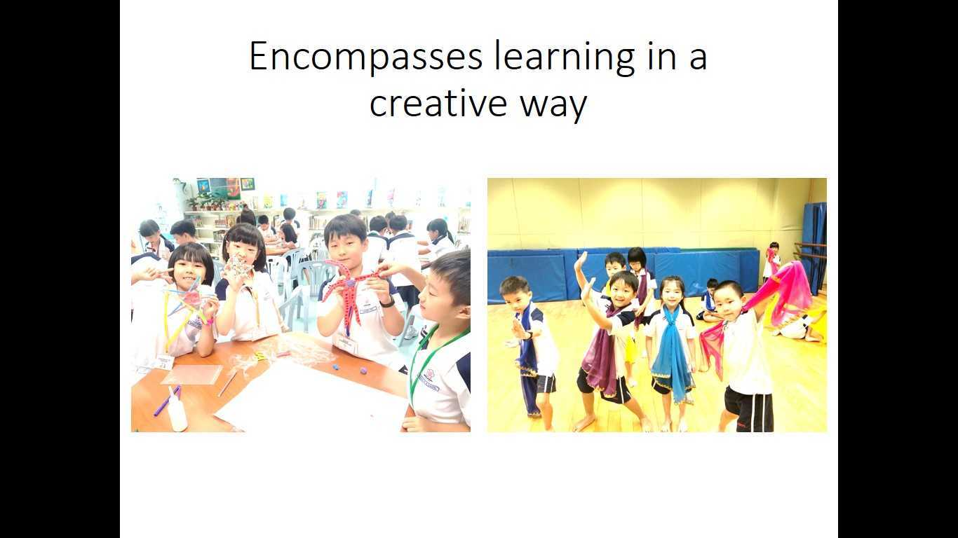 Encompasses learning in a creative way