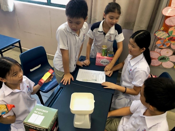 Pupils weight real household items using weighing scale.jpg